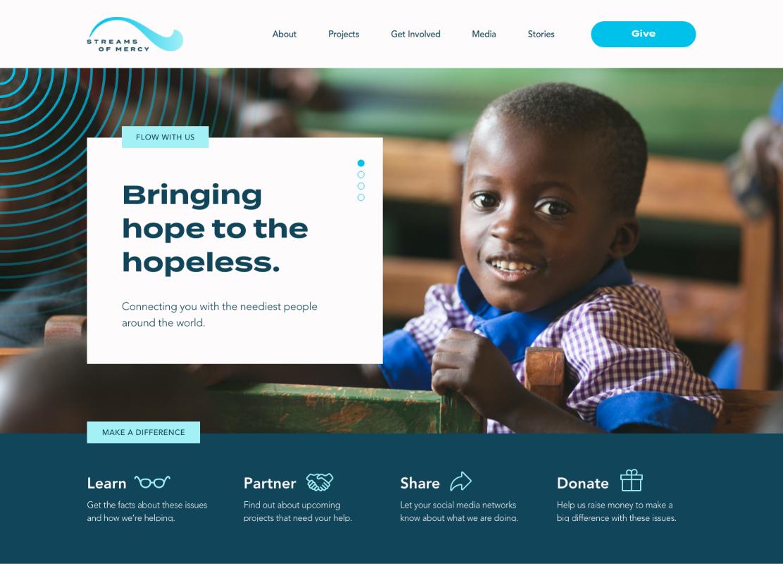New Streams Of Mercy website design