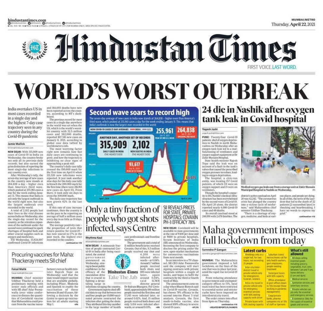 Hindustan Times Newspaper cover reads: World's Worst Outbreak